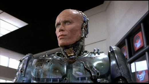 Peter Weller as Robocop with helmet off