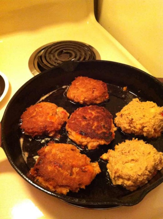 salmon patties frying