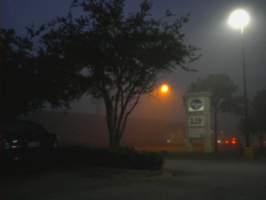 Fog decreases the visibility to 5/8 mile or less.