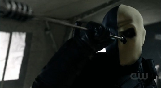 This was apparently not the arrow that went through his mask, as seen in episode 1.