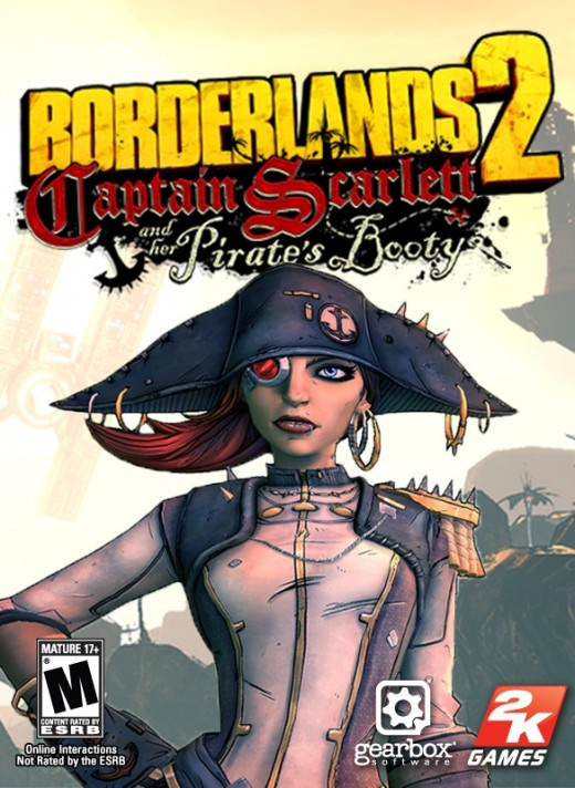 Promo box art for Borderlands 2: Captain Scarlett and Her Pirate's Booty DLC