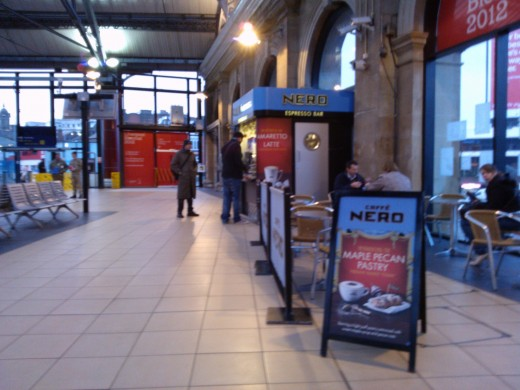 Caffe Nero Espresso Bar and concourse seating Lime St Station