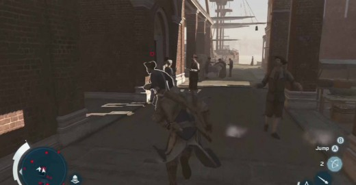 Assassin's Creed 3 Chase and Tackle Hickey by running parallel to him and then meeting him near the market docks area.