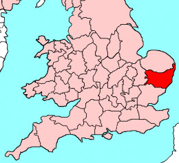 Map location of Suffolk, England