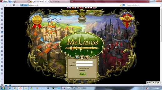 My Lands log in screen