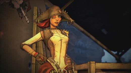 "Screen shot of Captain Scarlett in Borderlands 2 ""Captain Scarlett and Her Pirate's Booty"" DLC"