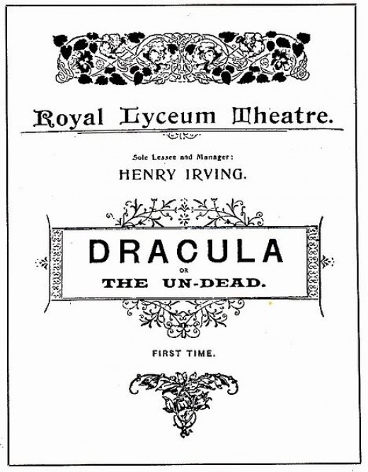 This is a Public Domain photo of the program for Bram Stokers stage production of Dracula.