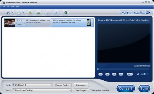 Screenshot of Aimersoft Video Converter