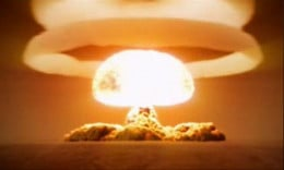 Tsar Bomba was the largest hydrogen bomb ever exploded at 57 megatons. It took several seconds to reach its peak thermal output. At the site, temperatures exceeded those on the surface of the sun. Take the time to click on the link and watch it.