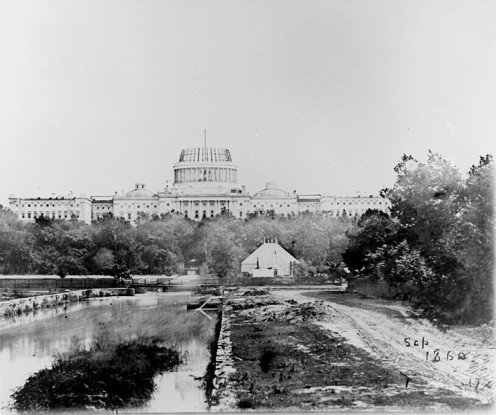 The US Capitol, under construction in 1860. President Lincoln insisted it be completed during the American Civil War, without a work stoppage.