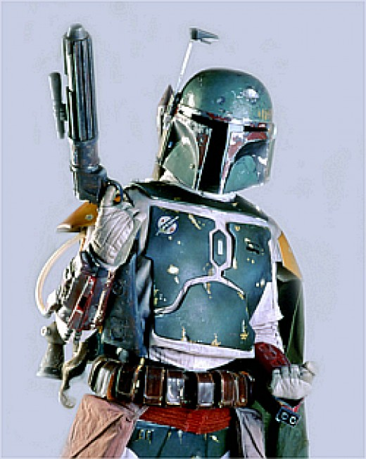 The famous bounty hunter Boba Fett actually wears the battle dress of a Mandalorian warrior.