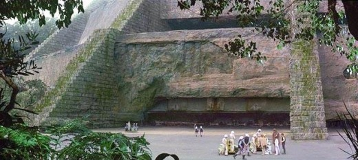This is the ancient Jedi Temple located on the jungle planet of Yavin.