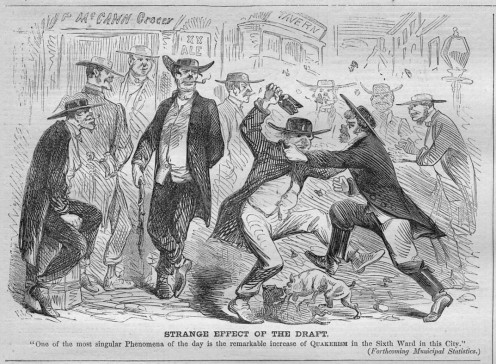 A saloon fight over the Civil War military draft.