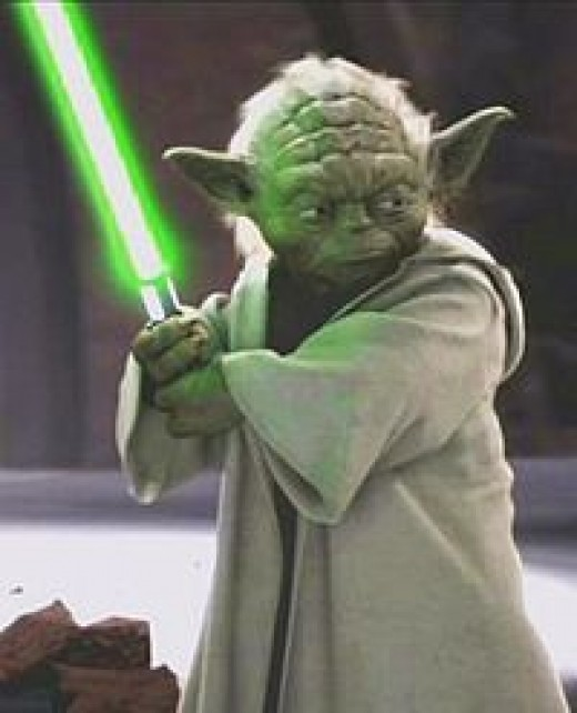 In this version, Yoda definitely does not use a lightsaber. More importantly though, he is the one that first spots the anger and hatred dwelling within Anakin.