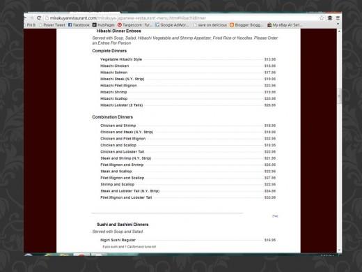 Screenshot of Mirakuya's online menu.