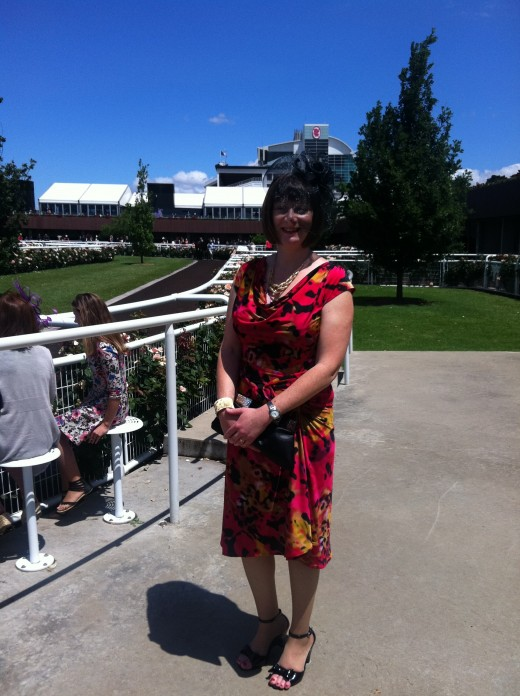 Author's wife looking much more beautiful at the Races - at the mounting yard