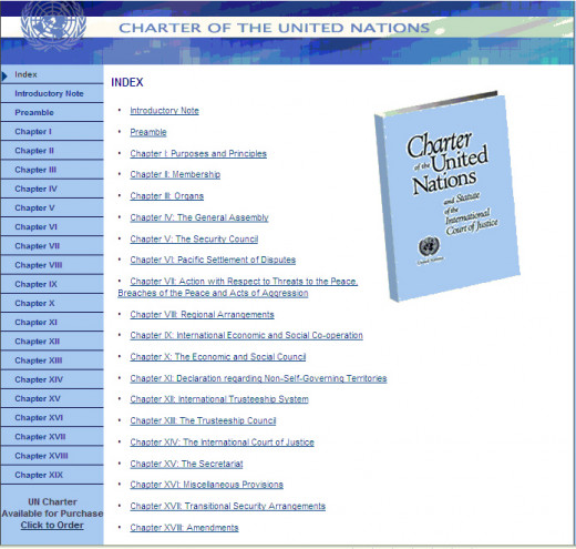 Web Page for the Charter for the United Nations
