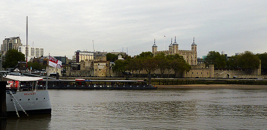 The Tower of London with the stern of the Belfast in the foreground