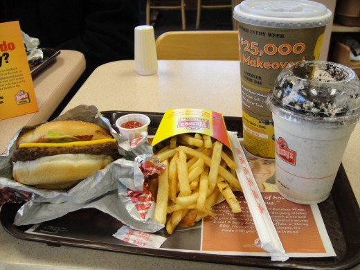 Baconater, Frostie, medium root beer and fries at Wendy's.