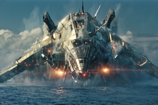 Screen shot of an alien ship in Battleship