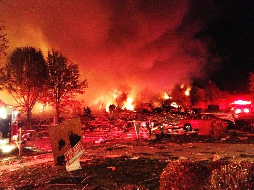 Like a scene from a war movie this neighborhood in Indianapolis was devastated by a massive explosion.
