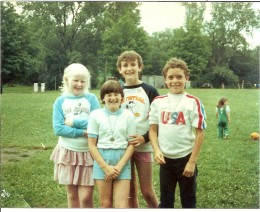 Our Tony with girls from Ireland at the Project Children Picnic in 1984.