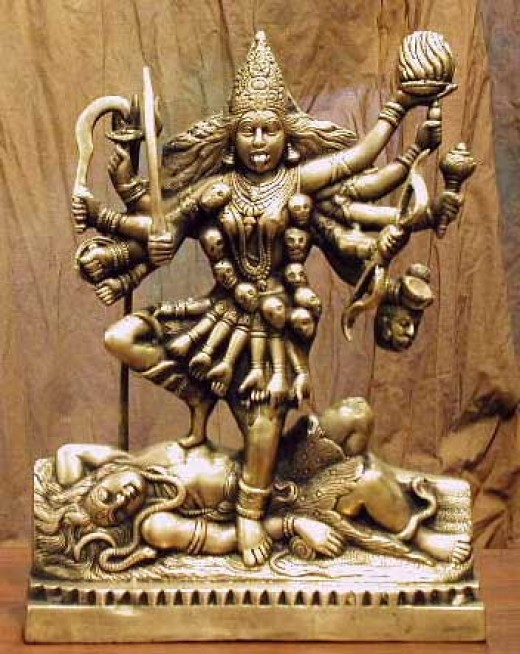 Kali is a Hindu Goddess represented as the consort of Lord Shiva, on whose body she is often seen standing which subdues her anger .