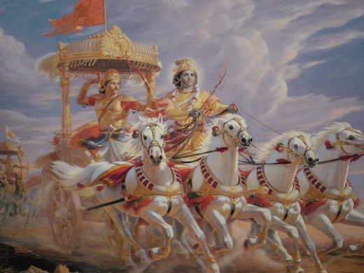 Mahabharata(the longest poem in the world) is a narrative of a rivalry between two related families , the Kauravas and the Pandavas for the conquest of the land called Bharata . Before the battle Lord Krishna gave teachings to Arjuna(one of the panda