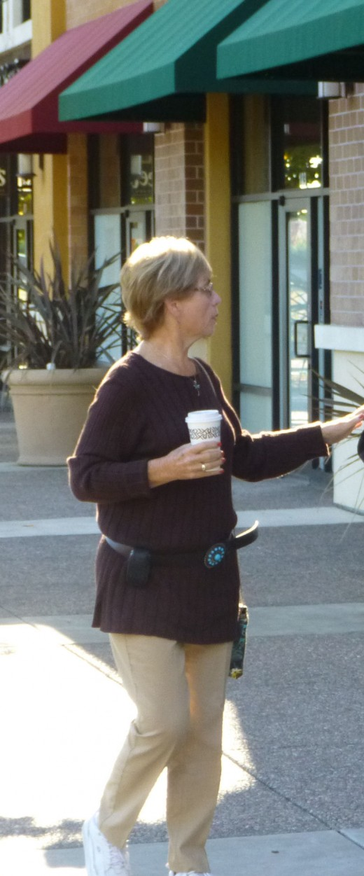Betty with coffee in hand!