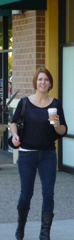 Kristen with coffee in hand! Gary doesn't drink coffee.
