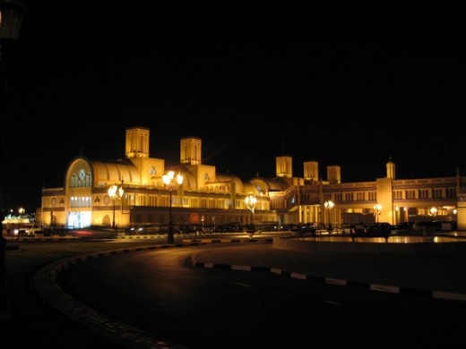 3. View of A Modern Shopping Complex in Sharjah at Night. Wind Tower has been used only as an architectural element to give the Building a Local Character. (Photo from Wikipedia)