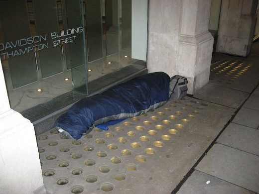 Homeless person, Covent Garden, London