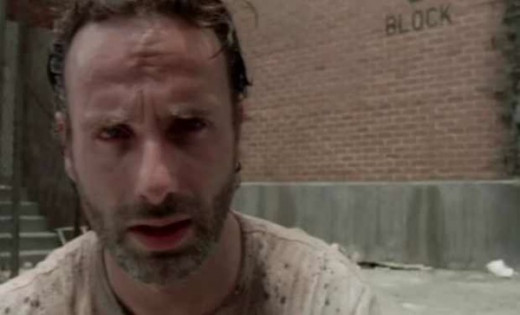 Screen shot of Rick (Lincoln) in season 3 of The Walking Dead