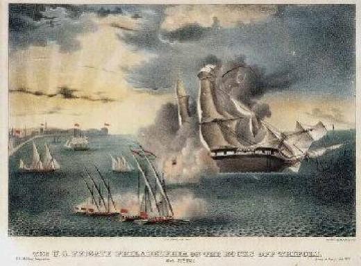 The USS Philadelphia aground off Tripoli.