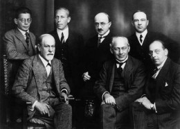 The committee in 1922: Rank, Abraham, Eitingon, Jones (standing), Freud, Ferenczi, Sachs