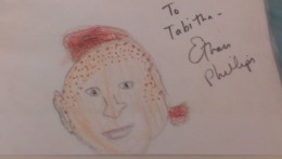 Ethan Phillips signed a picture that my daughter drew of him. He has a matching picture with my daughter's autograph!
