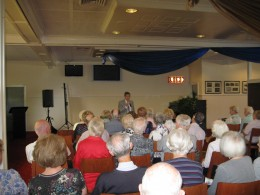 A typical Probus Club audience.  This one,  the Hunters Hill Club, claims to be the  oldest club NSW, Australia and was founded in 1976
