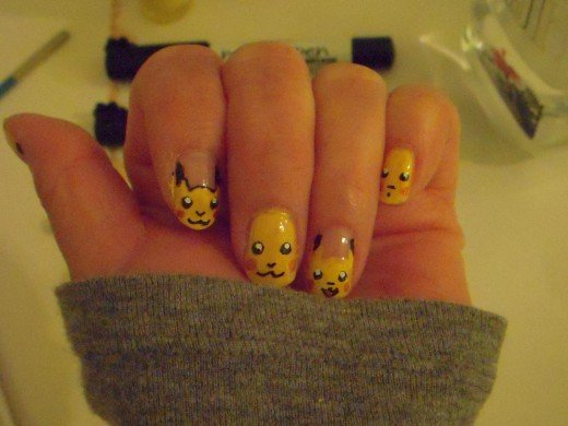 Pikachu-style nails, complete