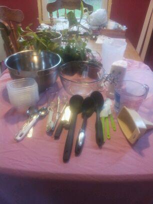 Kitchen utensils needed for soap making.