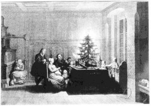 Carl Augustus Schwerdgeburth painting of Luther, his family and a candle lit Christmas tree.