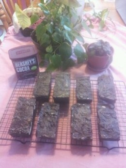 Brownie soaps made by rebatching.