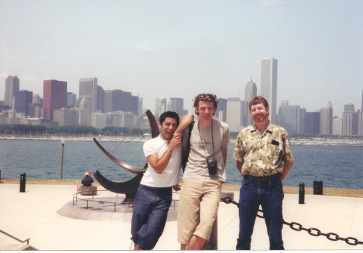 Jan (center) poses with his friend, Zany, and Tony in Chicago when he returned for a visit in 2002