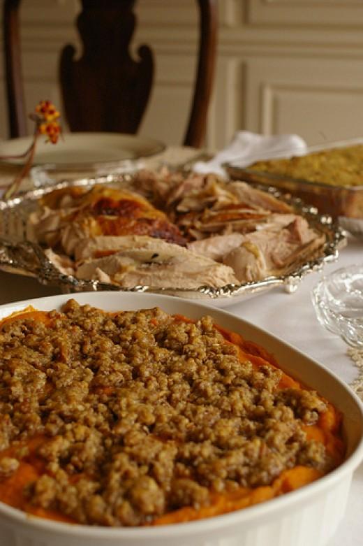 Sweet potato casserole and turkey