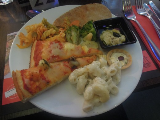 Just a selection of pizza, pasta and veg and the Red Hot Buffet