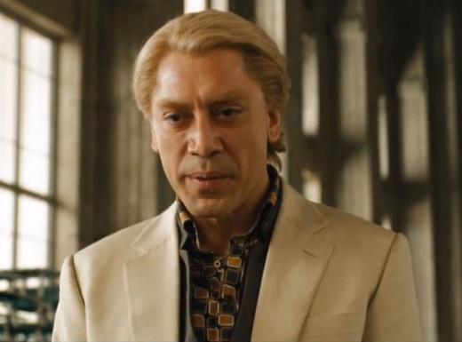 Screen shot of Raoul Silva (Bardem) in Skyfall