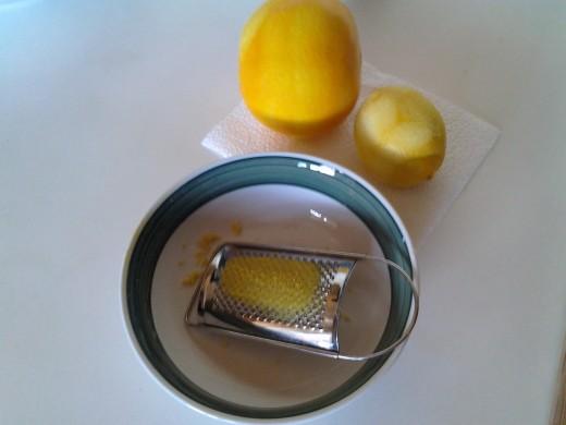 Zesting the lemon and orange