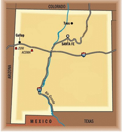 Map showing proximity of Acoma Pueblo to Zuni Pueblo