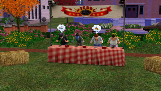 Pie eating contest on The Sims 3 Seasons Expansion pack