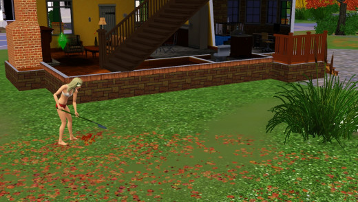 Sims 3 Raking Leaves in The Sims 3 Seasons Expansion Pack.