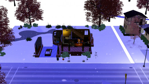 The first snowfall of winter on The Sims 3 Seasons.
